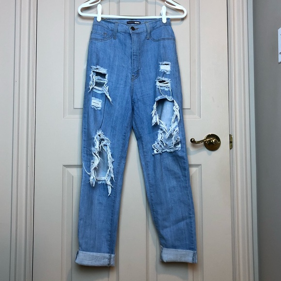 Ultra high waisted ripped jeans